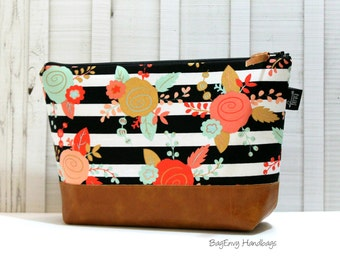 Floral Stripe with Vegan Leather - Large Make Up Bag / Diaper Clutch / Bridesmaid Gift
