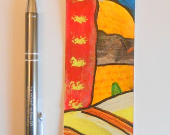 Hand Painted Artsy Bookmark Red Yellow Blue White