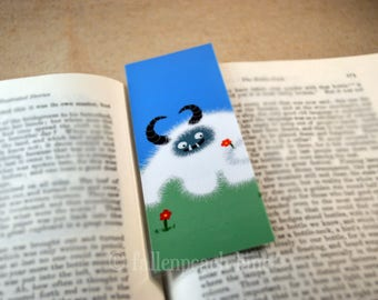 Yeti Picks Flowers Bookmark - Original, Laminated Illustration