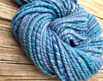 Blues Clues handspun wool bulky yarn 2 ply 69 yards treasure goddess hand spun yarn sky blue bird