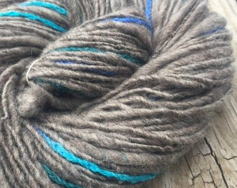 Glimpse of a Mermaid Handspun Corespun yarn Wool Blends Yarn Bulky Weight gray grey wool turquoise teal accent Ply 109 yards