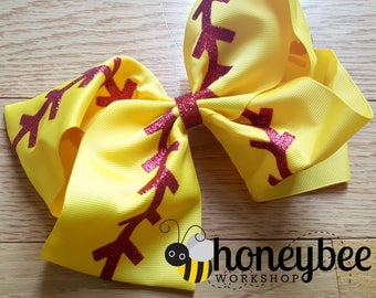 beautiful softball glitter bow - team spirit, mom, sister, sibling bow - glitter vinyl seams - team mom gift