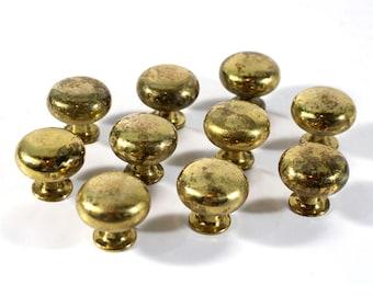 Set of 10 Vintage Solid Brass Cabinet Knobs