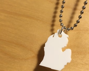 Lasercut State Necklace, Michigan Small Size in White, State Charm, State Pendant