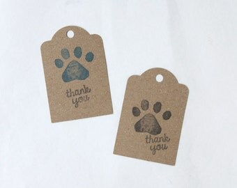 PAW PATROL party favour tags, paw print gift tags, fox thank you tags, paw patrol favour bag tags,  X 10