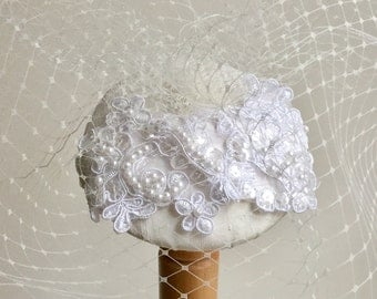 Ivory bridal fascinator - Bridal headpiece - Silk fascinator - Birdcage veil - Ivory wedding hat.