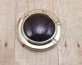Folding Purse/Handbag Hanger - Dark Purple and Black Sparkles