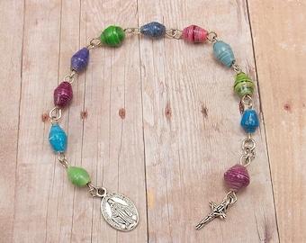 Paper Bead Pocket Rosary - Chaplet - Single Decade - Tenner - Rwandan Beads - Multicolor - Blue, Purple, Pink, Green
