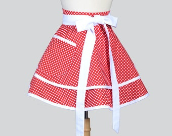 Waist Apron , Womens Retro Style Valentine Red and White Polka Dot Double Layer Half Apron Kitchen Cooking or Hostess Apron