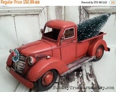 HOLIDAY SALE Large Old Fashioned Red Truck Christmas Decor / Primitive / Centerpiece / Bottle Brush Christmas Tree  / Christmas Arrangement