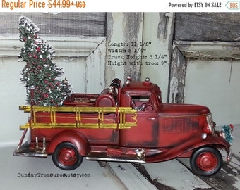 SALE Large Old Fashioned Red Fire Truck Christmas Decor / Fire Truck Centerpiece / Fire Truck Decoration Bottle Brush Tree Ready To Ship