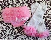 PINK SNOWFLAKE Set- Baby Girl Ruffle Bum Baby Bloomer, Diaper Cover, Legwarmers with chiffon ruffle,holiday, winter- Christmas -Photo Prop