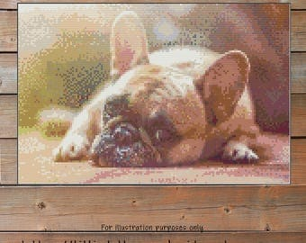 Dog crochet pattern French Bulldog Crochet Chart - Frenchie Dog Graph Crochet - Photo Blanket - Corner to Corner  - Cross Stitch