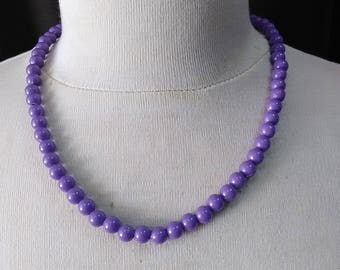Retro lavender   beads necklace ready to ship