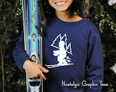 25% OFF SALE SALE 50 Percent Off Ski Slope for Boys by Nostalgic Graphic Tee in Navy with White Crystal Ink