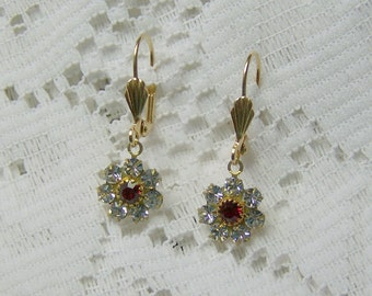 Garnet Red Crystal Earrings, Vintage Swarovski Crystal element Bridal Earrings, Red and Clear, January & April Birthstones, Winter Wedding