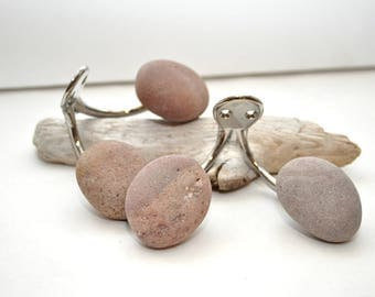 Double Hooks with Beach Rocks - Ready to Ship Pair