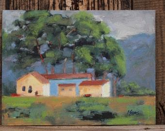 MEEKER SLOUGH - 9 x 12 - Richmond, Oakland, Northern California - Plein Air Landscape - Original Oil Painting - Home Decor - Buildings - Art