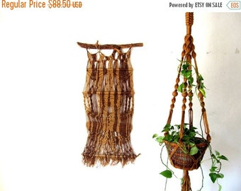 ON SALE Vintage Macrame Wall Hanging, Extra Large 1970s Woven Textile, Natural Jute on Wood Branch, Boho Home Decor