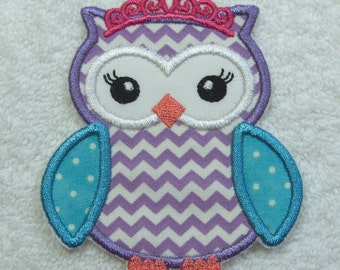 Princess Owl Fabric Embroidered Iron On Applique Patch Ready to Ship