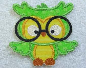 Iron on Owl with Glasses Patch Fabric Embroidered Iron On Applique Patch Ready to Ship
