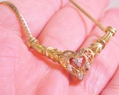 "Estate Italian 10k YG Genuine Natural Diamond Heart Necklace 17"" 4.5g Signed ADL"