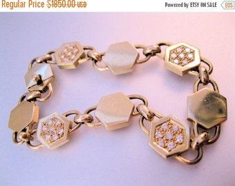 XMAS SALE Vintage 14k CABOU Signed .84ct Diamond Hexagon Link Bracelet Jewelry Jewellery