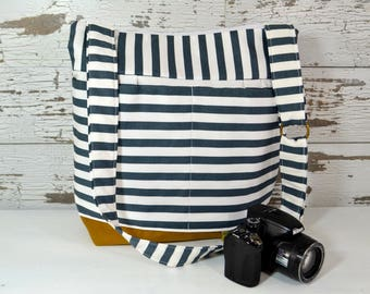 Camera bag in Stockholm Navy Blue Stripe, waterproof base -Lightweight and durable! by Darby Mack made in the USA