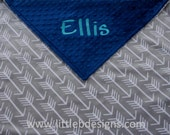 Personalized Minky Blanket - Gray Arrow Minky with Navy Minky Dot - Baby Blanket