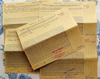 1930's Large Vintage Yellow Bank Receipts