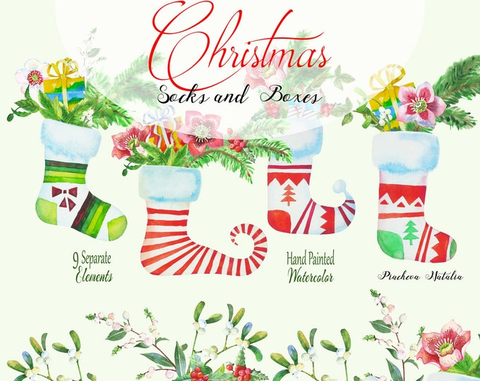 Christmas Socks and Boxes. Christmas , clipart, watercolor clip art, holly, hellebore, mistletoe, Christmas tree, berries, New Year