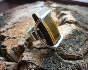 Mid Century Modernist Tigers Eye and Silver Sledge Ring 60's 70's