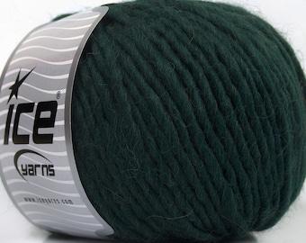 100 Gram Inca Alpaca Bulky Yarn #43733 Darkest Green Ice 40 Percent Alpaca, 50 Percent Virgin Wool, 10 Percent Acrylic, 109 Yards