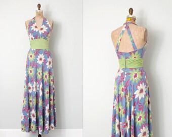 vintage 1930s dress / blue floral print 30s maxi dress / small s