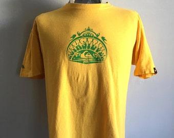 Vintage Men's 90's Quicksilver, Surf T Shirt, Yellow, Short Sleeve (XL)
