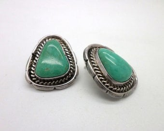 Turquoise and Silver Earrings Vintage Southwestern Post Style
