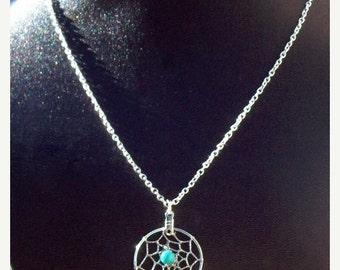 ON SALE Dream catcher necklace in silver with Turquoise