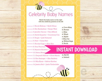 Bumble Bee Pink Wings Girl Shower Celebrity Baby Names Baby Shower Game Card, Printable PDF INSTANT DOWNLOAD bs-155