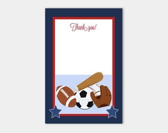 Sports Football Baseball Navy and Red Boy Baby Shower Thank you Cards INSTANT DOWNLOAD bs-019