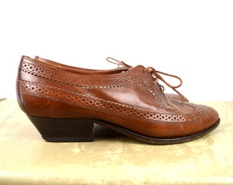Vintage Lace Up Wing Tip Loafers Shoes - Size 38 - Made in Italy