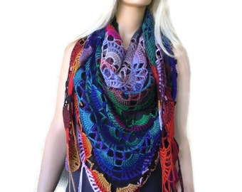 Varna  Bohemian crochet scarf-multicolor Super lacy Crochet oversize scarf with fringes-Silk and mohair-Handmade
