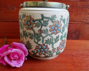 Vintage English Biscuit Barrel, Ceramic and Silverplate Canister, European Style Cookie Jar
