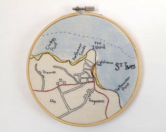 St. Ives Cornwall Vintage Map - 6 Inch Hand Embroidered Hoop Art with Wooden Frame