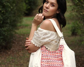 Little bird Beige, reds and oranges tote  gorgeous hand embroidered  one of a kind  handbag