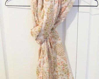 Vintage Scarf Shawl in Spring Floral Paisley Pastel Pattern or Table Runner