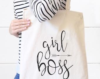 Girl Boss Tote Bag, Canvas Tote bag, Business Owner Bag, Boss Babe, Graduation gift, Boss gift, Birthday gift, Christmas gift