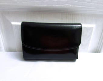Vintage Coach Tri Fold Black Leather Wallet Clutch Change Purse - Currency Ids Credit Cards Coin Compartments