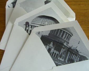 25 envelopes lined with vintage architectural images.  A2.  Historic British public buildings, estates and private houses..