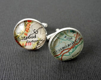 Map Cufflinks, Vintage American and World Maps, Unique Gift for Him, Personalised for Men