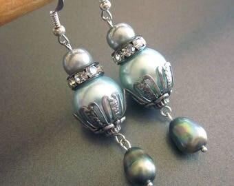 Pearl Dangle Earrings Fresh Water Pearls
